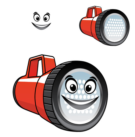 portative: Big red torch or flashlight with a happy smiling face with a second variation with no smile, isolated on white