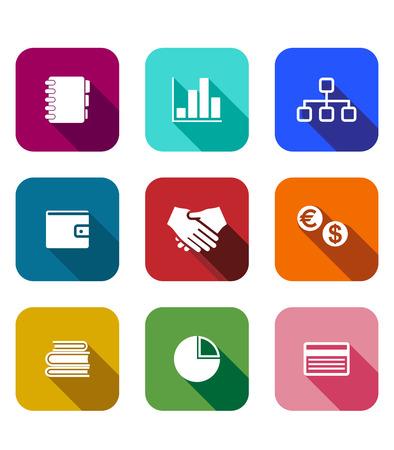 Set of colorful business icons on square web buttons depicting bar and pie graph, handshake, wallet, management, currencies, books, bank card and diary or notebook Vector