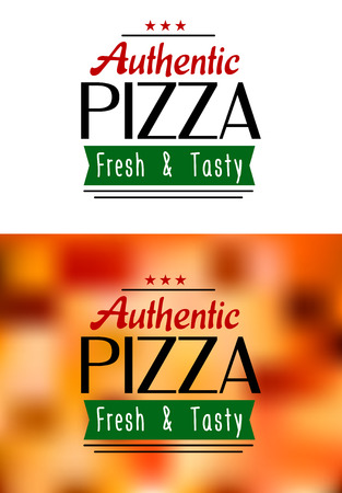 Authentic pizza labels isolated on white and on colorful background for fast food or pizzeria menu design Vector