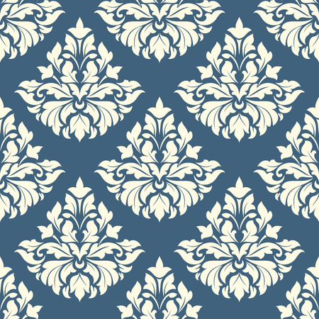 Ornate damask style floral pattern on blue background in a seamless pattern in square format suitable for tiles, wallpaper and textile design Vector