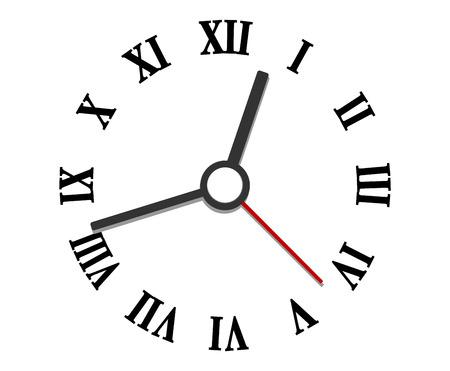 Zwarte en witte handen en Romeinse cijfers klok elementen voor een ronde klok wijzerplaat op wit wordt geïsoleerd