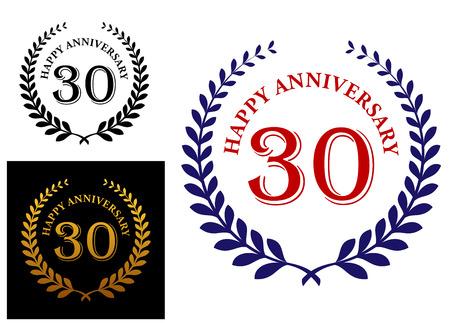 enclosing: Felice emblema 30 � anniversario con una corona di alloro foliate allegando il testo - Happy Anniversary e 30 - in tre varianti di colore