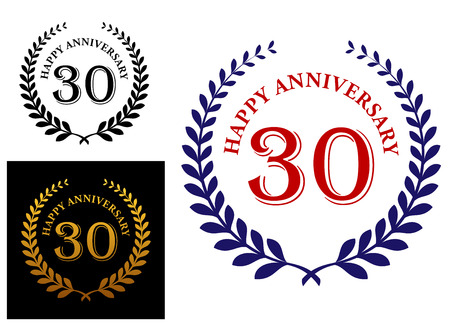 enclosing: Happy 30th anniversary emblem with a foliate laurel wreath enclosing the text - Happy Anniversary and 30 -  in three color variations
