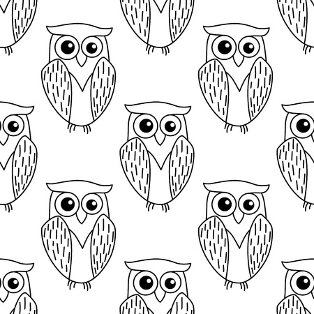 Cute little owl seamless background pattern in a dainty outline doodle sketch in black and white in square format Vector