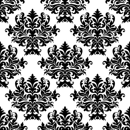 Black and white floral seamless pattern with bold abstract arabesque elements in damask style for wallpaper, tiles and fabric design Vector