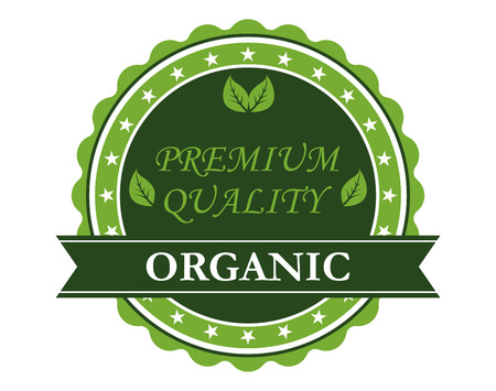 Green colored circular Premium Quality label guaranteeing quality farm fresh organic products isolated on white background Vector