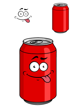 energy drink: Red soda can with a goofy comical look sticking out its tongue isolated on white for fat food design Illustration