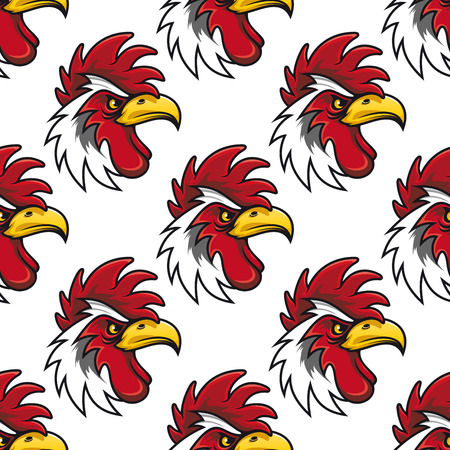 cockscomb: Rooster head seamless background pattern with a fierce curved beak and red comb