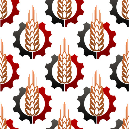 Ripe ear of wheat and a cog wheel seamless background pattern conceptual of mechanisation and industry in agriculture Vector