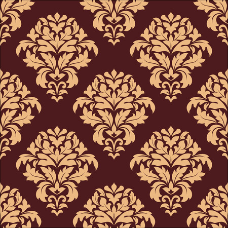 Damask style seamless pattern on maroon with a beige repeat floral motif suitable for wallpaper, tiles and fabric design in square format Vector
