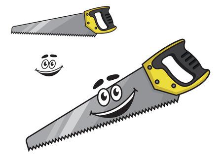 serrucho: Sierra de mano de la historieta con una sonrisa de felicidad en la hoja dentada afilada con una segunda variante con ninguna sonrisa