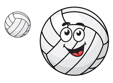 Two volleyballs, one with a happy smiling face and other without face suitable for sports design isolated on white background