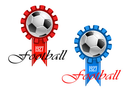 soccer balls: Blue and red crests of football club established in 1927 with text Football at the foot of the design isolated over white background