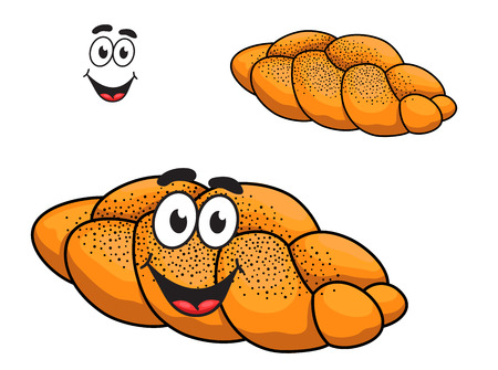 croissant: Gourmet plaited crusty loaf of bread with poppy seed and a happy smiling face in cartoon style