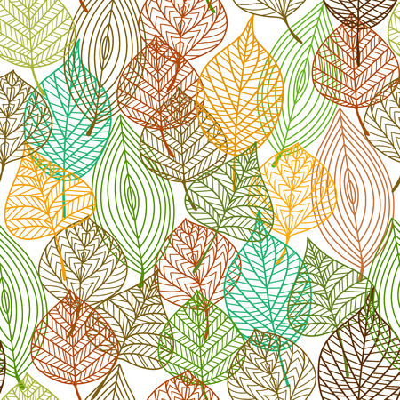 Seamless pattern of autumnal leaves in square format for wallpaper, background or fabric design Vector