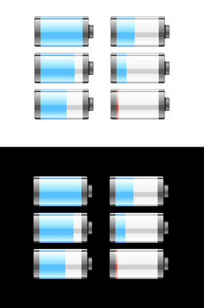 Set of batteries or cells showing the residual charge during use going from full to empty on black and white backgrounds Çizim