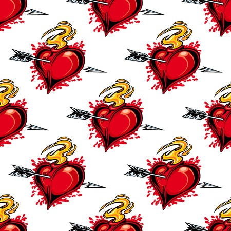 Burning fiery heart pierced by the arrow of love seamless background pattern for Valentines celebrations Vector