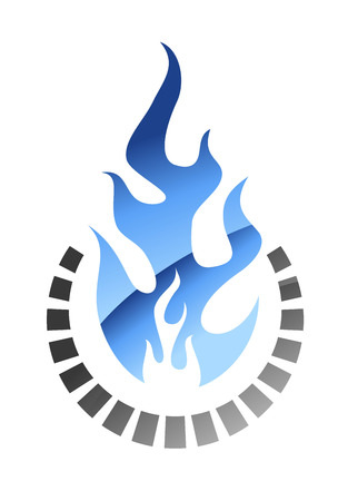 Blue colored burning gas flame in glow style for oil, gas and energy industry design Vector