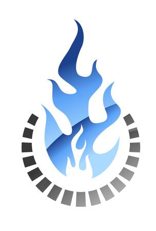 gas flame: Di colore blu fiamma a gas che brucia in stile bagliore di petrolio, gas e design industria energetica