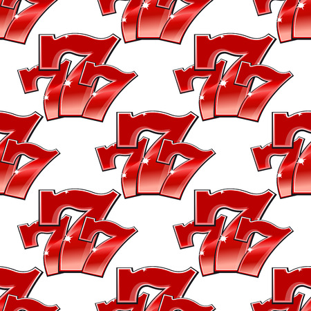 triple: Triple seven 777 background seamless pattern with sparkling red numerals for gambling and casino design