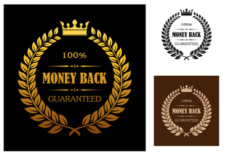wreath: Laurel wreath enclosing 100 percent money back guaranteed labels with crown overhead in different colors suitable for various business types