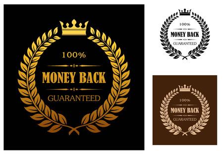Corona di alloro che racchiude 100 per cento i soldi indietro etichette garantiti con la corona in testa in diversi colori adatti per vari tipi di business