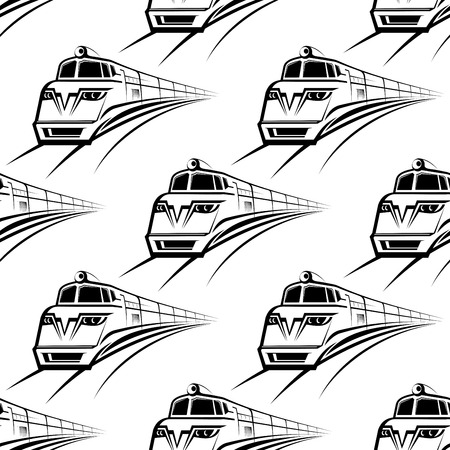 Black and white modern train with an approaching engine seamless background pattern with a repeat motif in square format Vector
