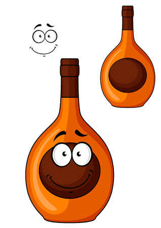 cognac: Brown cartoon liqueur bottle with a smiling face on the label and a second variation without the face, isolated on white