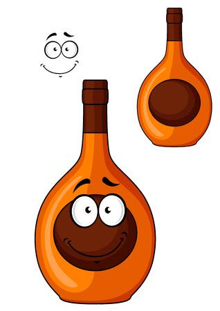 likeur: Bruine cartoon likeur fles met een lachend gezicht op het etiket en een tweede variant zonder het gezicht, geïsoleerd op wit Stock Illustratie