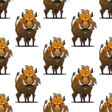 hardy: Fierce angry wild boar or warthog seamless pattern standing glaring at the viewer with its sharp tusks, repeat motif in square format Illustration