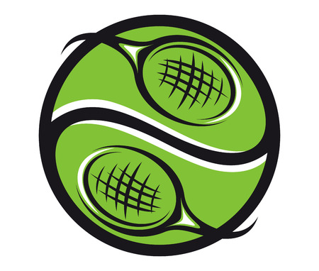 Green tennis ball with rackets icon for sports emblem design