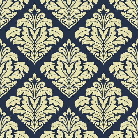 ベージュと濃い青のシームレスなダマスク織パターン壁紙と織物の設計のため