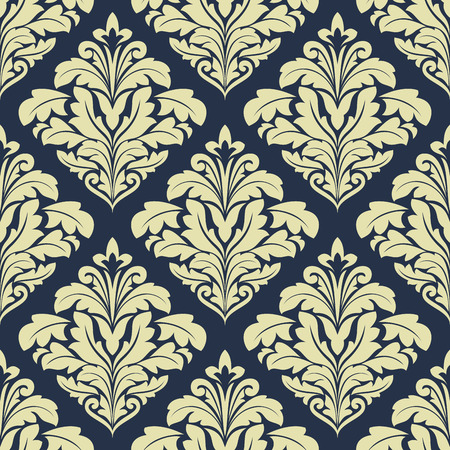Beige and dark blue seamless damask pattern for wallpaper and textile design