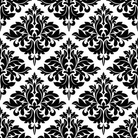 Damask dainty seamless pattern with black floral motifs