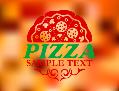 Pizza label on red colorful background for pizzeria or cafe design Vector