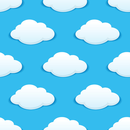 summer sky: White fluffy clouds in a sunny blue summer sky seamless background pattern with repeat motifs in square format suitable for wallpaper, tiles and fabric design Illustration