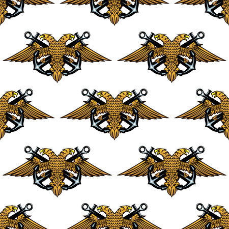 Double headed Imperial eagle and crossed anchors seamless background pattern in square format Vector