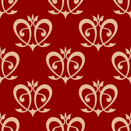 Swirling hearts seamless background pattern with flourishes and curlicues in maroon and beige colors for wallpaper and fabric design