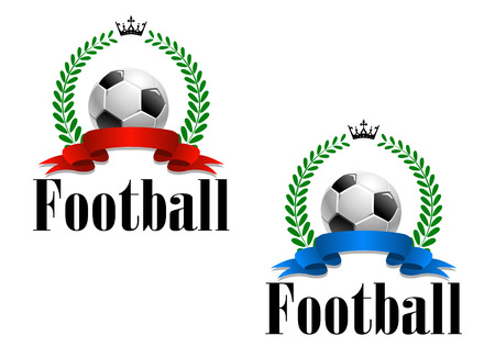 surmounted: Football emblem or label with a blank ribbon banner surmounted by a football, laurel wreath and crown with the word - Football below - in two color variations