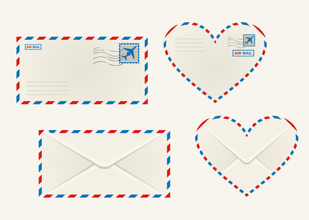 airmail: Set of different airmail envelopes with the front and back of a rectangular and heart shaped envelope blank for your address