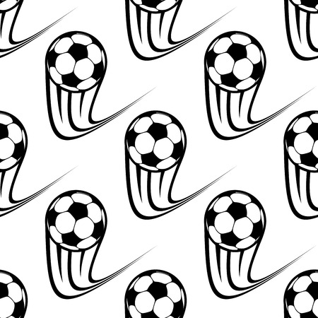 Seamless black and white pattern of speeding soccer balls with upward motion trails in square format Vector