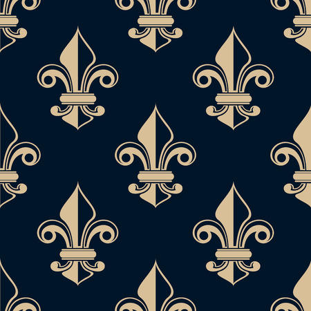 french symbol: Vintage fleur de lys seamless background pattern with repeat motifs suitable for heraldry, wallpaper and fabric design