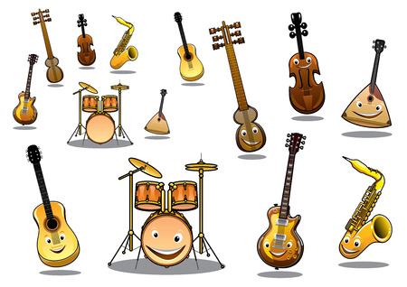 Large collection of musical instruments with happy cartoon faces including a zither, guitar, saxophone, electric guitar, violin and a set of drums Illustration