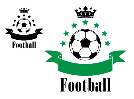 soccer field: Black and white football or soccer ball with green ribbon and second variant with black ribbon with black crowns and text Football isolated on white background  Illustration