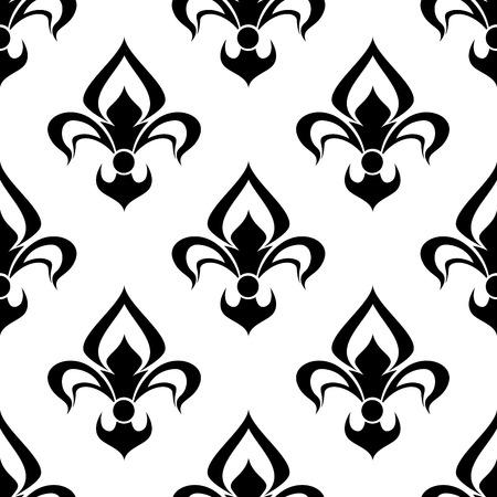 モダンな黒と白のシルエット fleur de lys 背景のシームレスなパターン繰り返しをモチーフにした heraldry、壁紙、テキスタイル デザインに適して  イラスト・ベクター素材