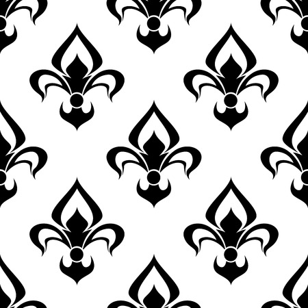 Modern black and white silhouette fleur de lys background seamless pattern with a repeat motif suitable for heraldry, wallpaper and textile design