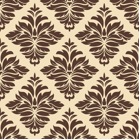 Brown and beige seamless damask pattern for wallpaper, background and fabric design Vector