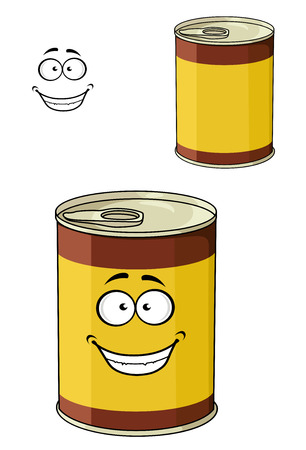 tinned: Cartoon can of tinned food with a happy smiling face together with a second variant with no face
