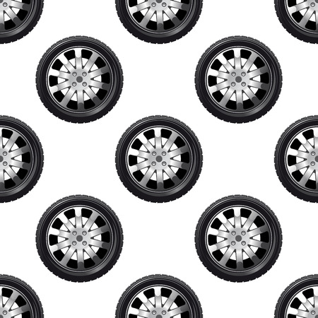 Automobile wheel seamless pattern with a tyre on a spoked alloy rim in a repeat motif in square format Vector