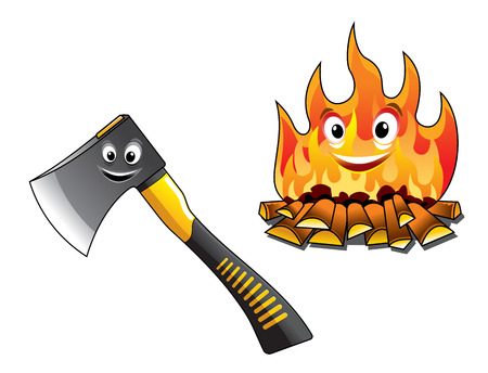 Cartoon axe or chopper for chopping the firewood and a separate burning fire with happy smiling faces for travel and tourism design Vector